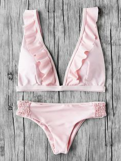 Pink Plunge Neckline Frill Trim Bikini Set