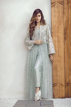 Tint blue embroidered ready to wear 2 piece dress by Suffuse by Sana Yasir semi formals 2018 - La Fashionista Dresses Elegant, Pakistani Dresses Casual, Pakistani Dress Design, Stylish Dresses, Pakistani Bridal, Eid Outfits Pakistani, Pakistani Couture, Indian Bridal, Abaya Fashion