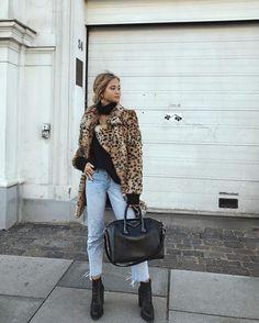 Leopard print faux fur jacket || alyannaclothing.com