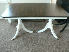 For the Love of it: Duncan Phyfe Dining Table. Painted base, stained/poly top