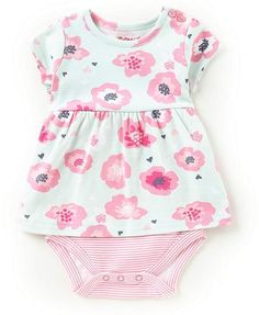 Zutano Baby Girls Newborn-9 Months Floral/Striped Skirted Bodysuit #babygirl, #romper, #dillards, #promotion