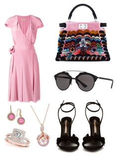 """Lady in pink"" by tamzkerre ❤ liked on Polyvore featuring Burberry, Sophia Webster, Fendi, INC International Concepts, Christian Dior and Allurez"