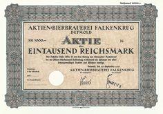 Aktien-Bierbrauerei Falkenkrug / Aktie 1 000 RM, Detmold 30.9.1941