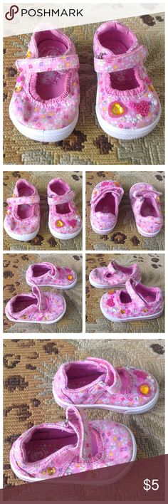 Super Cute Toddler Pink Floral Sneakers 3 Circa. Super cute fink floral slip on Velcro closure sneakers. Bejewelled. Toddler size 3. Great condition. A wash would make them even more colourful. I didn't wash any of the baby shoes. Circo Shoes Sneakers