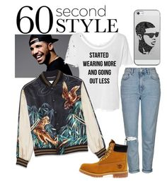 """""""Started Wearing More & Goin' Out Less."""" by southernautumn ❤ liked on Polyvore featuring Topshop, Timberland, Casetify, DRAKE, views and 60secondstyle"""