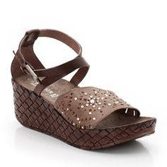 Leather Wedge Heel Sandals With Studded Uppers