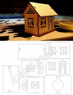 Small laser cutted plywood house pattern - by laserwood. Laser Cutter Projects, Cnc Projects, Wooden Crafts, Diy And Crafts, Paper Crafts, Laser Cut Wood, Laser Cutting, Woodworking Plans, Woodworking Projects