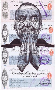 Mark Powell 'dirty words from an empty soapbox (flowers wilt in the sun)' bic biro drawing on a collection of antique cheques, 31x18cm £550