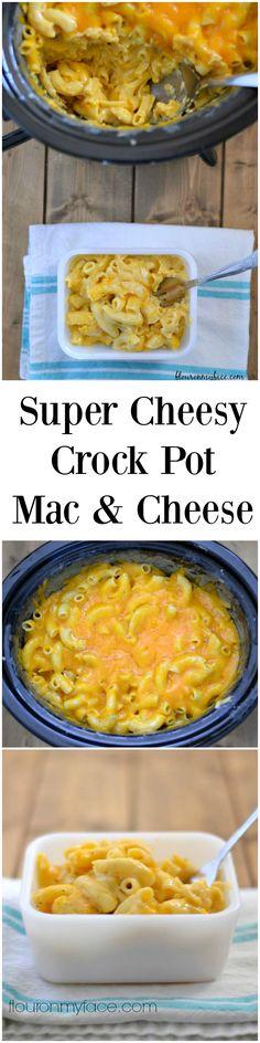 Crockpot recipe: Super cheesy and easy Crock Pot Macaroni and Cheese recipe. Tastes just like Bob Evans Mac and cheese via flouronmyface.com