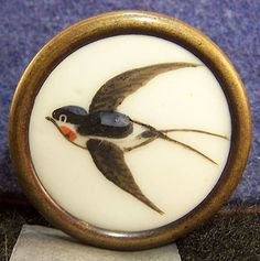 Medium Sized Antique Porcelain Button W/Swallow Flying Bird Hand Painte