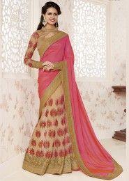 Wedding Wear Designer peach golden Sarees
