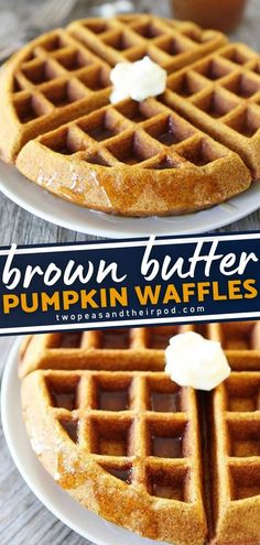 No better way to start your day than this Brown Butter Pumpkin Waffles! This tasty breakfast idea will make you welcome fall with open arms. Brown butter pumpkin waffles drenched in brown butter syrup, its surely is the true breakfast of champions! Pin this in your breakfast food list!