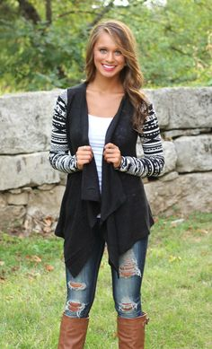The Pink Lily Boutique - Black Aztec Sleeve Cardigan, $40.00 (http://www.thepinklilyboutique.com/black-aztec-sleeve-cardigan/)