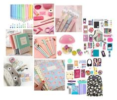 """""""Cute School Supplies!"""" by floralfunk ❤ liked on Polyvore featuring interior, interiors, interior design, home, home decor and interior decorating"""