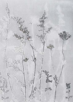 Large fine art print. OOAK botanical monoprint  hand pulled. Modern organic light delicate and minimal. Wild flowers British hedgerow
