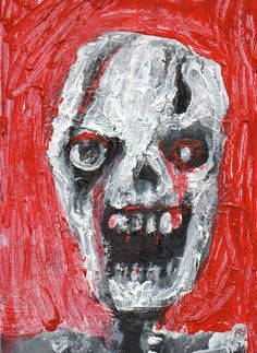 """ZOMBIE ART""  Acrylic original  ,ACEO  jack larson 3.5""x2.5"" #Abstract"