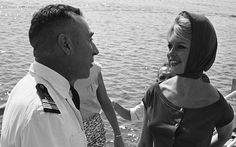 Brigitte onboard the escort 'Le Basque' at the invitation of the French Navy, photo by Jack Garofalo, Côte d'Azur, August 1958.
