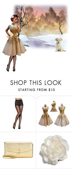 """""""Gala for the Puppies"""" by hwyn ❤ liked on Polyvore featuring Hanes, Masquerade, Dolce&Gabbana, Cara, vintage, gold, formal, dog and puppy"""