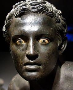 Close-up of bronze figure of a Runner, Herculaneum