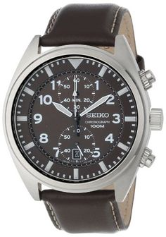 Seiko Men's Analog Display Japanese-Quartz Brown Watch Stainless steel case measures diameter by thick. Brown genuine leather strap includes a Mens Watches Leather, Leather Men, Black Leather, Leather Gifts, Custom Leather, Sport Watches, Watches For Men, Brown Leather Watch, Seiko Men
