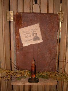 battery corn husk candle   Samuel Adams Tallow Candles hanger