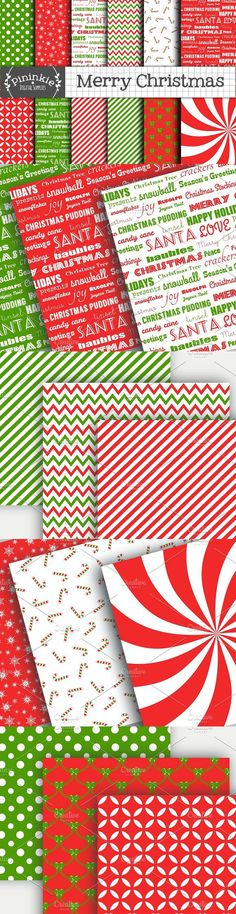 """This listing is for the """"Merry Christmas"""" Scrapbooking Digital Paper Pack, which includes 12 festive designs in red, white and green. ► MORE CHRISTMAS: Chevron Patterns, Christmas Patterns, Christmas Christmas, Pattern Design, Scrapbook, Colours, Paper, Prints, Xmas"""