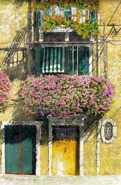 """vertical gardens - flowering balcony venice 40"""" x 26"""" micheal zarowsky / watercolour on arches paper (private collection)"""