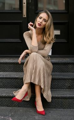Holiday Entertaining //  Metallic gold knit ribbed midi dress, red suede pumps, diamond bezel necklace and gold tribar cuff {Nic and Zoe, AUrate New York, classic style, fashion blogger, what to wear to a dinner party, holiday style, festive dress}