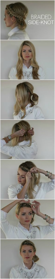 Great hairstyle for quick and stylish 'second day hair' - Braided Side Knot Hair Tutorial #blushingbasics