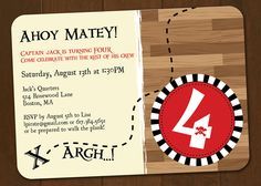 Pirate Party Decorations and Invitation Printable Birthday. $35.00, via Etsy.