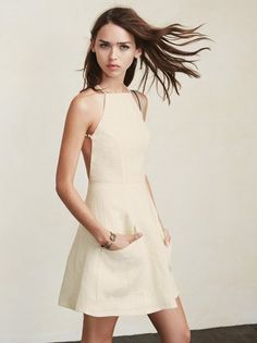 Fresh linens for summer. The Aurora Dress is cute, easy, and shows just the right amount of skin. This is a medium weight linen mini dress with a high. Cute Dresses, Casual Dresses, Summer Dresses, Women's Casual, Casual Wear, Aurora Dress, Lgbt T Shirts, Poses, Beautiful Gowns
