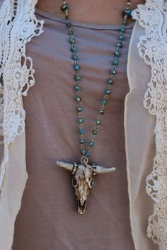 Texas Heart HANDMADE COW SKULL WITH BLING NECKLACE