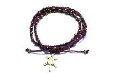 Ketzali Wachinik Handmade Triple Wrap Bracelet Aubergine by Ketzali on shop us forward