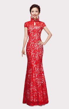Mandarin Collar Bridal Gown Cheongsam Wedding Reception Dress