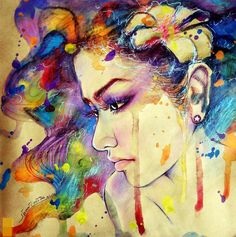 Original watercolor of abstract thai woman by ratchadapornsangziw, $110.00