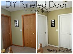 Before you buy new doors check out this DIY tutorial for converting hollow core slab doors into beautiful paneled doors for only $20.00.
