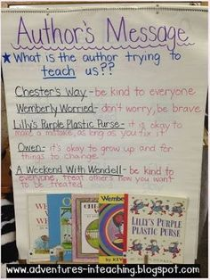 Author's message with Kevin Henkes (author study) theme anchor chart Theme Anchor Charts, Reading Anchor Charts, Kindergarten Reading, Teaching Reading, Guided Reading, Teaching Ideas, Reading Notes, Phonics Reading, Shared Reading