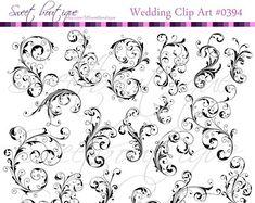 22 Flourish Swirls Clip Art Black Floral Flower Leaf Clipart Silhouette Decorative Bridal Shower Designs DIY Invitations 0394