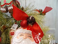 Pine Tree with RAZ Gingerbread - Trendy Tree Blog - tutorial shows how to make ball ties for securing ribbon to tree.