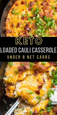 If you need a cheesy low carb side this Loaded Bacon Cheddar Cauliflower Casserole is packed with everything you love in a baked potato! At under 8 net carbs this is the perfect holiday keto side dish! Cheesy Recipes, Easy Casserole Recipes, Low Carb Recipes, Lunch Recipes, Drink Recipes, Low Carb Side Dishes, Side Dish Recipes, Dinner Recipes Easy Quick, Quick Easy Meals