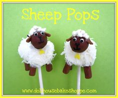 Marshmallow Sheep Pops - Marshmallow dipped in melted white chocolate & coconut for body. Head, ears, legs & tail made from tootsie rolls made pliable using the heat of your hands & then sized appropriately (head could also be a malted milk ball); white confetti sprinkle for eye whites; yellow heart sprinkle for bell.  Attach all with melted chocolate. When dry, use edible marker for eyes, nose & mouth. Sheep hair can also be torn marshmallow pieces, sugar pearls, or white nonpareils.