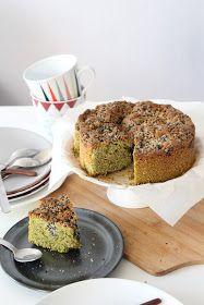 Cinnamon And Cake : Gateau matcha, amande et streusel de sésame noir