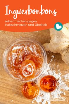 Ginger for a sore throat: make ginger candy yourself Ingwer gegen Halsschmerzen: Ingwerbonbons selber machen Ginger for a sore - Healthy Meals For Kids, Healthy Meal Prep, Healthy Dinner Recipes, Healthy Life, Healthy Snacks, Easy Meals, Dessert Recipes, Healthy Eating, Baking Recipes For Kids