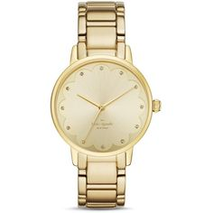 kate spade new york Scalloped Dial Gramercy Watch, 34mm (68 KWD) ❤ liked on Polyvore featuring jewelry, watches, gold, gold jewelry, gold jewellery, dial watches, kate spade and yellow gold jewelry