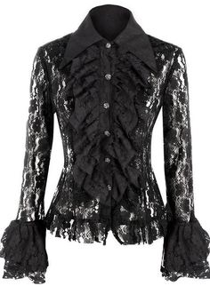 Black Ruffle Blouse Inspired by the Victorian Era, this luxurious and decadent lace blouse features demure and sophisticated details such as long and billowed sleeves, a frilled stand up oversized collar and sumptuously tailored lace. Black Lace Blouse, Black Lace Tops, Black Ruffle, Black Lace Shirts, Ruffle Blouse, Black Wardrobe, Lace Jacket, Thing 1, Lolita Dress