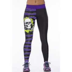 Fashionable High Waist Stripe and Skull Printed Sport Pants For Women