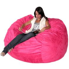 Hot Pink Bean Bag Chair for Girls - Home Furniture Design Cheap Bean Bag Chairs, Bean Bag Couch, Giant Bean Bag Chair, Large Bean Bag Chairs, Pink Bean Bag, Giant Bean Bags, Cool Bean Bags, Large Bean Bags, Hot Pink Furniture