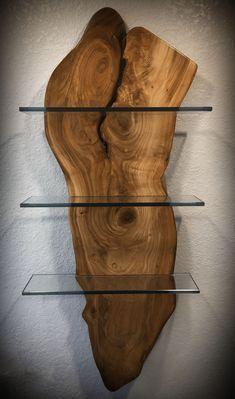 Live Edge Wood With Glass Shelves   Wood Monkey Studio  Live Edge Wood With Glass Shelves   Wood Monkey Studio