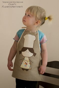 Apron for a chef. Sewing Hacks, Sewing Crafts, Sewing Projects, Sewing For Kids, Baby Sewing, Childrens Aprons, Cute Aprons, Apron Designs, Sewing Aprons