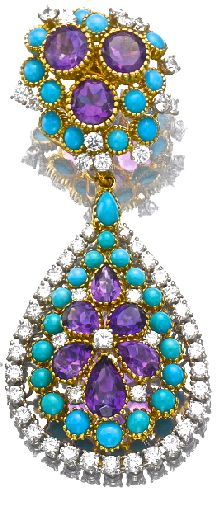 Turquoise, diamond, and amethyst ear pendant by Cartier